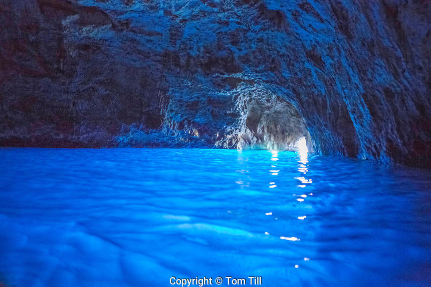 The Blue Grotto, Amalfi Coast, Italy, Near Capril Natural blue from outside reflections, Tyrrhenian Sea