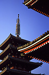 Tall pagodas in the heart of downtown Asakusa, Tokyo on the island of Honshuu, Japan