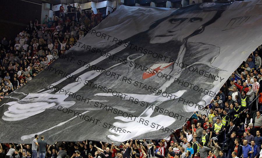 Kosarka EuroCup season 2013-2014<br /> Crvena Zvezda v Bilbao Basket<br /> EuroCup<br /> Delije navijaci transparent Zelja fans supporters<br /> Beograd, 01.08.2014<br /> foto: Srdjan Stevanovic/Starsportphoto &copy;