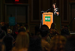 University College Assistant Dean Jenny Klein addresses members of the class of 2019 during Bobcat Student Orientation on Friday, June 5, 2015.  Photo by Ohio University  /  Rob Hardin