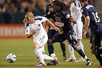 LA Galaxy forward Bryan Jordan (27) moves with the ball. The LA Galaxy defeated the Philadelphia Union 1-0 at Home Depot Center stadium in Carson, California on  April  2, 2011....