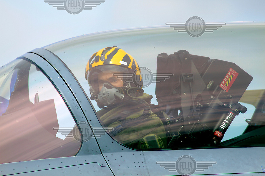 Pilot in tiger helmet. Nato Tiger Meet is an annual gathering of squadrons using the tiger as their mascot. While originally mostly a social event it is now a full military exercise. Tiger Meet 2012 was held at the Norwegian air base &Oslash;rlandet.