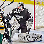 16 November 2013: Providence College Friar Goaltender Jon Gillies, a Sophomore from South Portland, Maine, in third period action against the University of Vermont Catamounts at Gutterson Fieldhouse in Burlington, Vermont. Gillies shut out the Catamounts to sweep the 2-game weekend Hockey East Series. Mandatory Credit: Ed Wolfstein Photo *** RAW (NEF) Image File Available ***
