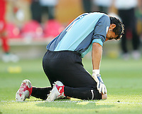 An emotional Oswaldo Sanchez, goalkeeper for Mexico, after the game. Mexico defeated Iran 3-1 during a World Cup Group D match at Franken-Stadion, Nuremberg, Germany on Sunday June 11, 2006.