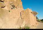 Talus House Reconstruction, Anasazi Ancestral Puebloan Cliff Dwelling, Bandelier National Monument, Frijoles Canyon, Pajarito Plateau, Los Alamos, New Mexico