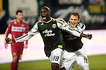 PORTLAND, OR - APRIL 14: Mamadou Danso #98 and Eddie Johnson #10 of the Portland Timbers celebrates a goal during the second half of the game at Jeld-Wen Field on April 14, 2011 in Portland, Oregon. The Timbers won the game 4-2. (Photo by Steve Dykes/Getty Images) *** Local Caption *** Mamadou Danso; Eddie Johnson