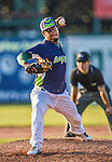29 June 2014:  Vermont Lake Monsters pitcher Kevin Ferreras on the mound against the Lowell Spinners at Centennial Field in Burlington, Vermont. The Lake Monsters fell to the Spinners 7-5 in NY Penn League action. Mandatory Credit: Ed Wolfstein Photo *** RAW Image File Available ****