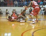 "Ole Miss forward Terrance Henry (1) and Arkansas' Marshawn Powell (33) battle for the ball at C.M. ""Tad"" Smith in Oxford, Miss. on Saturday, March 5, 2010."