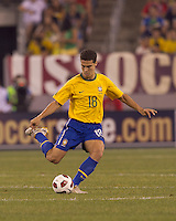Brazil midfielder Hernanes (18) passes the ball. Brazil  defeated the US men's national team, 2-0, in a friendly at Meadowlands Stadium on August 10, 2010.