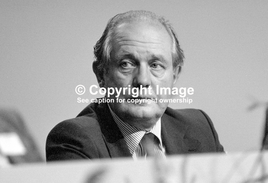 Sir John Biggs-Davison, MP, Conservative Party, UK, on platform at annual party conference, Brighton, 1984. 19840149JBD2..Copyright Image from Victor Patterson, 54 Dorchester Park, Belfast, UK, BT9 6RJ..Tel: +44 28 9066 1296.Mob: +44 7802 353836.Voicemail +44 20 8816 7153.Skype: victorpattersonbelfast.Email: victorpatterson@me.com.Email: victorpatterson@ireland.com (back-up)..IMPORTANT: If you wish to use this image or any other of my images please go to www.victorpatterson.com and click on the Terms & Conditions. Then contact me by email or phone with the reference number(s) of the image(s) concerned.
