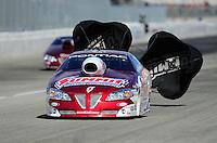 Nov. 13, 2011; Pomona, CA, USA; NHRA pro stock driver Greg Anderson during the Auto Club Finals at Auto Club Raceway at Pomona. Mandatory Credit: Mark J. Rebilas-.