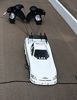 Feb 26, 2017; Chandler, AZ, USA; NHRA funny car driver Jeff Arend during the Arizona Nationals at Wild Horse Pass Motorsports Park. Mandatory Credit: Mark J. Rebilas-USA TODAY Sports