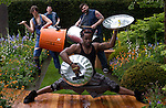 Dancers from STOMP perform at the Homebase display at the RHS Chelsea Flower Show in London