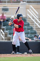 Nate Nolan (22) of the Kannapolis Intimidators at bat against the Asheville Tourists at Kannapolis Intimidators Stadium on May 7, 2017 in Kannapolis, North Carolina.  The Tourists defeated the Intimidators 4-1.  (Brian Westerholt/Four Seam Images)