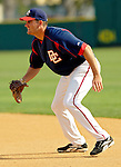 14 March 2006: Larry Broadway, first baseman for the Washington Nationals, sets to make a play during a Spring Training game against the Florida Marlins. The Marlins defeated the Nationals 2-1 at Space Coast Stadium, in Viera, Florida...Mandatory Photo Credit: Ed Wolfstein..