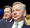 Conservative Party Conference <br /> Manchester, Great Britain <br /> Day 3<br /> 6th October 2015 <br /> <br /> <br /> David Cameron watches Boris Johnson speech <br /> <br /> <br /> Photograph by Elliott Franks <br /> Image licensed to Elliott Franks Photography Services