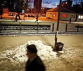 LODZ, POLAND, FEBRUARY 2012:.People waiting for train to Warsaw at 4:25. About 500 thousand people commute everyday from other towns and villages to work in the Polish capital..(Photo by Piotr Malecki / Napo Images)..Lodz, Luty 2012:.Stacja kolejowa Lodz Widzew o 4:25..Okolo 500 tysiecy osob dojezdza codziennie z innych miast do pracy w Warszawie.  .Fot: Piotr Malecki / Napo Images..