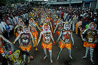 Pulikali procession at Swaraj road, Trichur, Kerala, India