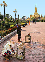 Locals and tourists buy a small bird and set it free for good luck in front of the Golden Stupa, Laos' most important monument.<br /> (Photo by Matt Considine - Images of Asia Collection)