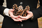 A girl in a black coat holds pinecones with red painted nails.