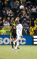 Columbus Crew defender Chad Marshall (14) and Galaxy forward Edson Buddle (14) go up for a ball during the first half of the game between LA Galaxy and the Columbus Crew at the Home Depot Center in Carson, CA, on September 11, 2010. LA Galaxy 3, Columbus Crew 1.