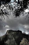 The remains of Eye castle with a stormy sky
