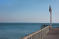 Pier at the Chemin de La Mer, with view over the English Channel, at Le Havre, Normandy, France. Picture by Manuel Cohen