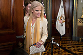 Kellyanne Conway, senior advisor to United States President Donald Trump, arrives to attend a swearing in of Betsy DeVos, U.S. Secretary of Education, not pictured, in the Vice President's Ceremonial Office in Washington, D.C., U.S., on Tuesday, Feb. 7, 2017. DeVos squeaked through a history-making Senate confirmation vote to become U.S. education secretary, as Vice President Mike Pence broke a 50-50 tie and Republicans staved off last-minute defections that would have killed her nomination. <br /> Credit: Andrew Harrer / Pool via CNP