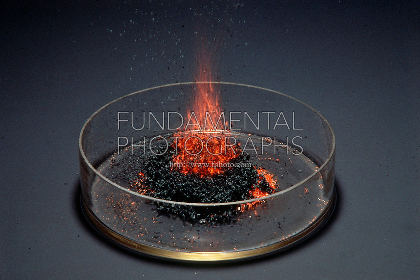 AMMONIUM DICHROMATE OXIDATION - VOLCANO EFFECT<br /> When ignited, a spectacular exothermic reaction occurs with end products of solid chromium (III) oxide, nitrogen gas &amp; water vapor.