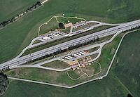 Parkplatz: EUROPA, DEUTSCHLAND, MECKLENBURG VORPOMMERN  (GERMANY), 31.08.2010: Parkplatz an der A25, BAB, Bundesautobahn, Parkplatz, Pause, Rasten, Halt, Stop, LKW, Luftaufnahme, Luftbild, Luftansicht, .c o p y r i g h t : A U F W I N D - L U F T B I L D E R . de.G e r t r u d - B a e u m e r - S t i e g 1 0 2, 2 1 0 3 5 H a m b u r g , G e r m a n y P h o n e + 4 9 (0) 1 7 1 - 6 8 6 6 0 6 9 E m a i l H w e i 1 @ a o l . c o m w w w . a u f w i n d - l u f t b i l d e r . d e.K o n t o : P o s t b a n k H a m b u r g .B l z : 2 0 0 1 0 0 2 0  K o n t o : 5 8 3 6 5 7 2 0 9.C o p y r i g h t n u r f u e r j o u r n a l i s t i s c h Z w e c k e, keine P e r s o e n l i c h ke i t s r e c h t e v o r h a n d e n, V e r o e f f e n t l i c h u n g n u r m i t H o n o r a r n a c h M F M, N a m e n s n e n n u n g u n d B e l e g e x e m p l a r !.