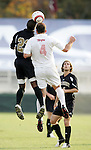 Wake's Marcellus Tennyson (l) and Maryland's Kenney Bertz (4) challenge for a header on Wednesday, November 9th, 2005 at SAS Stadium in Cary, North Carolina. The University of Maryland Terrapins defeated the Wake Forest University Demon Deacons 2-1 during their Atlantic Coast Conference Tournament Quarterfinal game.
