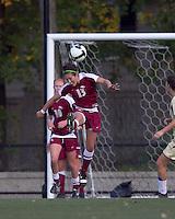 Florida State midfielder Amanda DaCosta (13) heads the ball. Florida State University defeated Boston College, 1-0, at Newton Soccer Field, Newton, MA on October 31, 2010.
