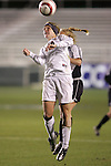 3 November 2006: Florida State's Kelly Rowland (front) leaps for a header. Florida State defeated Wake Forest 4-2 in penalty kicks after playing to a 0-0 draw after overtime at SAS Soccer Park in Cary, North Carolina in an Atlantic Coast Conference women's college soccer tournament semifinal game.