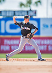 7 March 2016: Miami Marlins infielder J.T. Riddle warms up prior to a Spring Training pre-season game against the Washington Nationals at Space Coast Stadium in Viera, Florida. The Nationals defeated the Marlins 7-4 in Grapefruit League play. Mandatory Credit: Ed Wolfstein Photo *** RAW (NEF) Image File Available ***