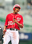 24 April 2010: Washington Nationals' outfielder Justin Maxwell in action against the Los Angeles Dodgers at Nationals Park in Washington, DC. The Dodgers edged out the Nationals 4-3 in a thirteen inning game. Mandatory Credit: Ed Wolfstein Photo