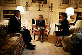 United States President George W. Bush and first lady Laura Bush meet with former first lady Betty Ford Monday, January 1, 2007, at the Blair House in Washington, D.C., where services will be held Monday for former U.S. President Gerald R. Ford, who died December 26, 2006, in California. <br /> Credit: Eric Draper-White House via CNP