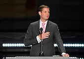 Eric Trump makes remarks at the 2016 Republican National Convention held at the Quicken Loans Arena in Cleveland, Ohio on Wednesday, July 20, 2016.<br /> Credit: Ron Sachs / CNP<br /> (RESTRICTION: NO New York or New Jersey Newspapers or newspapers within a 75 mile radius of New York City)