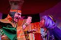 London, UK. 01/12/2011. Aladdin opens at the Lyric Hammersmith. Simon Kunz as Abanazer and Sophia Nomvete as Ringo. Photo credit: Jane Hobson