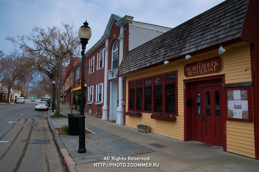 Empty street of Falmouth village with closed restaurants, Cape Cod, MA
