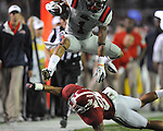 Ole Miss' Randall Mackey (1) vs. Alabama defensive back Dee Milliner (28) at Bryant-Denny Stadium in Tuscaloosa, Ala. on Saturday, September 29, 2012. Alabama won 33-14. Ole Miss falls to 3-2.