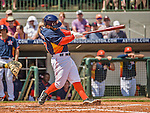 22 March 2015: Houston Astros infielder Jose Altuve chips his bat during a Spring Training game against the Pittsburgh Pirates at Osceola County Stadium in Kissimmee, Florida. The Astros defeated the Pirates 14-2 in Grapefruit League play. Mandatory Credit: Ed Wolfstein Photo *** RAW (NEF) Image File Available ***