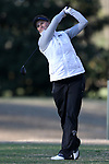 BROWNS SUMMIT, NC - APRIL 01: UNCG's Kristin Powers tees off on the 10th hole. The first round of the Bryan National Collegiate Women's Golf Tournament was held on April 1, 2017, at the Bryan Park Champions Course in Browns Summit, NC.