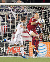 New England Revolution goalkeeper Matt Reis (1) gathers in a corner kick. In a Major League Soccer (MLS) match, the Los Angeles Galaxy defeated the New England Revolution, 1-0, at Gillette Stadium on May 28, 2011.