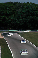 The Ford Mustang GTP Turbo driven by Bobby Rahal and Klaus Ludwig races in the 1984 IMSA event at Road America, Elkhart Lake, Wisconsin, USA.