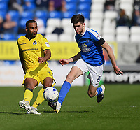 Bristol Rovers' Jermaine Easter (L) battles with Peterborough United's Jack Baldwin (R)<br /> <br /> Peterborough 4 - 2 Bristol Rovers<br /> <br /> Photographer David Horton/CameraSport<br /> <br /> The EFL Sky Bet League One - Peterborough v Bristol Rovers - Saturday 22nd April 2017 - ABAX Stadium - Peterborough <br /> <br /> World Copyright &copy; 2017 CameraSport. All rights reserved. 43 Linden Ave. Countesthorpe. Leicester. England. LE8 5PG - Tel: +44 (0) 116 277 4147 - admin@camerasport.com - www.camerasport.com