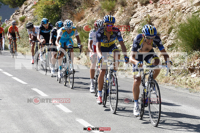 Dani Navarro (r) and Alberto Contador leading the group during the stage of La Vuelta 2012 between Barakaldo and Valdezcaray.August 21,2012. (ALTERPHOTOS/Paola Otero) /NortePhoto.com