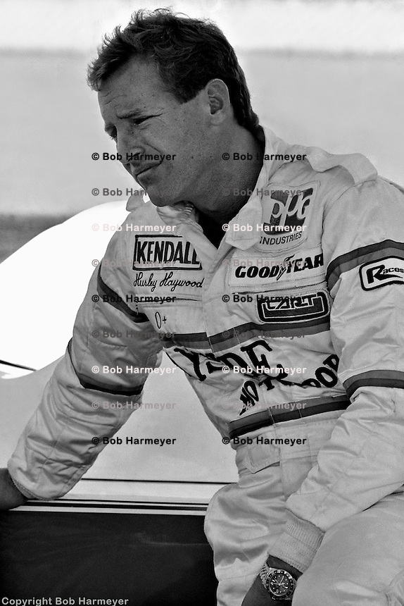 Legendary endurance driver Hurley Haywood, five-time winner of the Daytona 24 Hours, three-time winner of the 24 Hours of Le Mans and two-time victor at the 12 Hours of Sebring, awaits the start of practice in 1982.