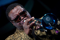 Trumpeter Wallace Roney of Remembering the Miles Davis classic Kind of Blue at 50 with Jimmy Cobb's So What Band performs on the WWOZ Jazz Tent stage during the 2009 New Orleans Jazz and Heritage Festival at the New Orleans Fair Grounds Race Course in New Orleans, Louisiana, USA, 2 May 2009.