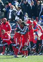 26 March 2011: Toronto FC forward Javier Martina #33 celebrates his second goal with Toronto FC midfielder Matt Stinson #15 during an MLS game between the Portland Timbers and the Toronto FC at BMO Field in Toronto, Ontario Canada..Toronto FC won 2-0....