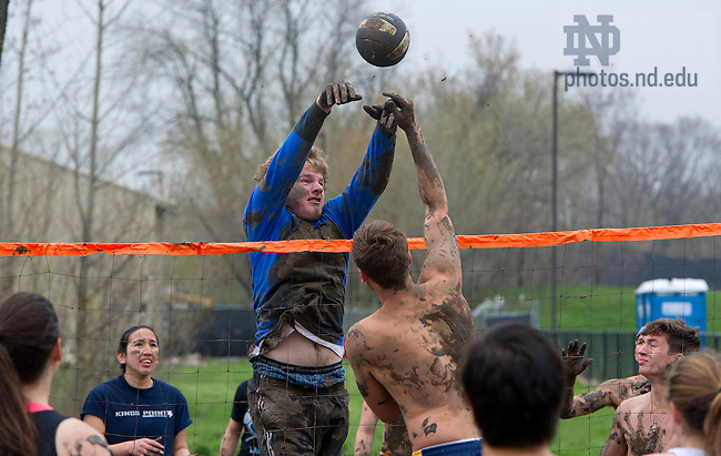 April 28, 2013; Students participate in Muddy Sunday, a volleyball tournament played in the mud at White Fields in support of Habitat for Humanity. Photo by Barbara Johnston/University of Notre Dame